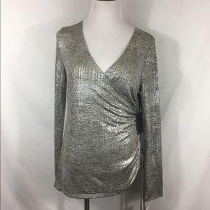 Trouve Metallic Silver Long Sleeve Faux Wrap Top